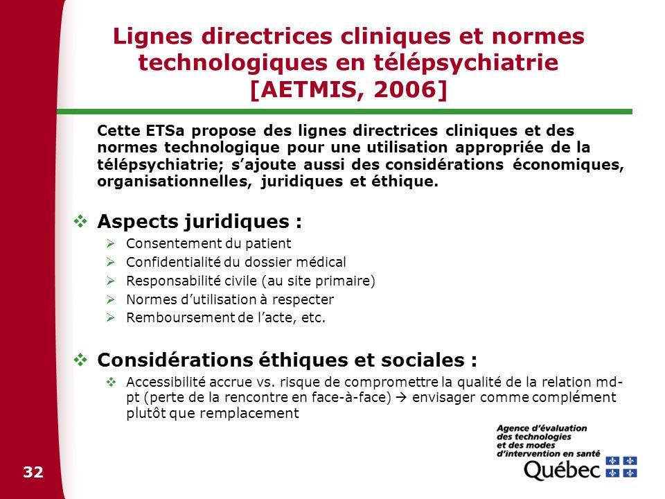 Lignes directrices cliniques et normes technologiques en télépsychiatrie [AETMIS, 2006]